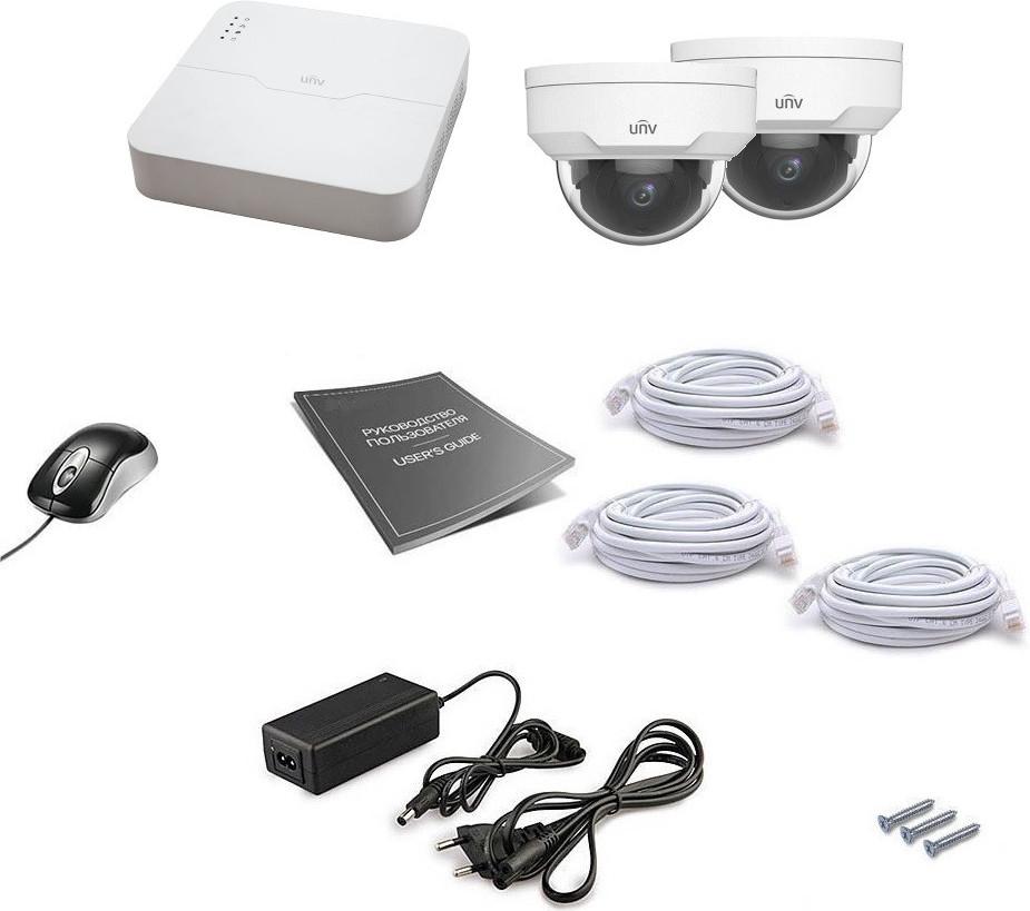 Комплект IP видеонаблюдения Uniview 2DOME 4MEGA