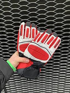 Мужские горнолыжные перчатки Faktum белые с красным