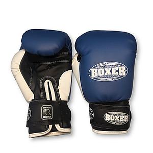 Боксерские перчатки 6 оz кожвинил Элит синие, BOXER