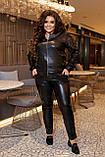 Шкіряний жіночий батальний брючний костюм з рукавами з паєтками (р. 50-60), фото 2