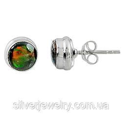 Серебряные серьги с АММОЛИТОМ  (натуральный), серебро 925 пр.