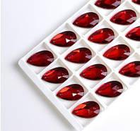 Стразы пришивные Капля 13х22 мм Siam (Красный), стекло, фото 1