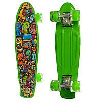 Скейт Penny board для детей от 3 лет Profi с подсветкой колес и рисунком, 56х14,5 см, зеленый