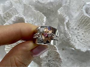 Серебряное кольцо с камнями морганит и гошенит  Аленький цветочек