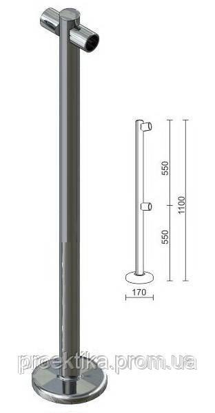 Стойка для перегородок с крепл. для 2-х труб dm40