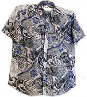 Приталенная рубашка с синими цветами, фото 1