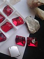 Стразы пришивные Космик (ломаный ромб) 21х26 мм Siam (красный), стекло