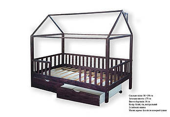 Ліжечко Будиночок з ящиками 01 з масиву дерева, спальне місце - 80х190 см
