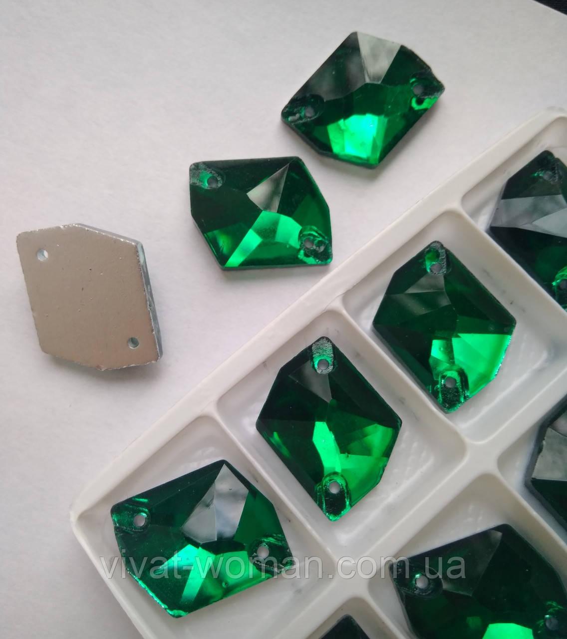 Стрази пришивні Космік (ламаний ромб) 16х21 мм Emerald (смарагдовий), скло