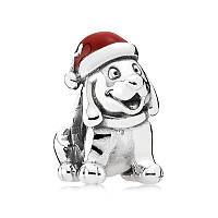 Шарм «Рождественский щенок» из серебра 925 пробы в стиле Pandora