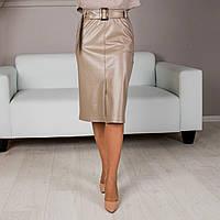 Прямая юбка с поясом бежевая