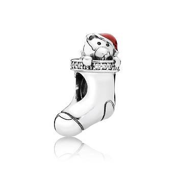 Шарм «Рождественский носок с подарком» из серебра 925 пробы