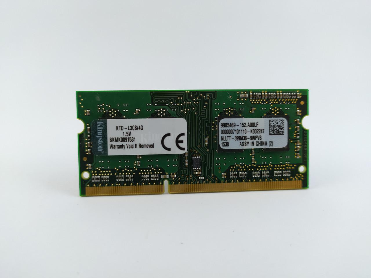Оперативна пам'ять для ноутбука SODIMM Kingston DDR3 4Gb 1600MHz PC3-12800S (KTD-L3CS/4G) Б/У