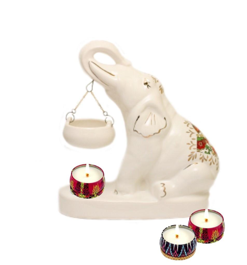 Аромалампа керамическая Слон белый