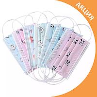 ✨ Дитячі тришарові захисні маски упаковка 50 шт. ✨, фото 1