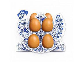 Декоративна підставка для яєць №8.1 Півник-гжель (8 яєць) ТМ EASTERS