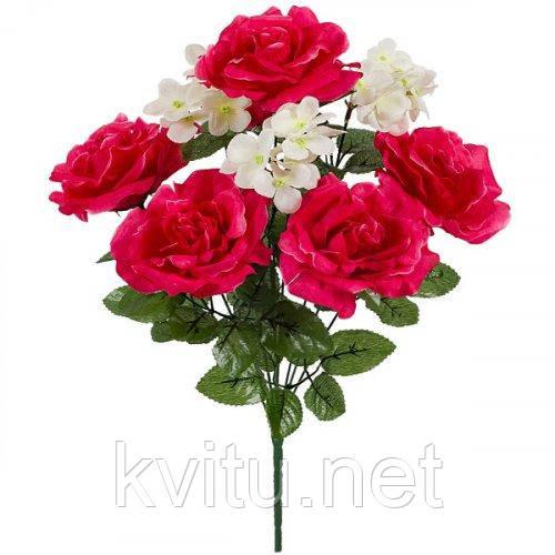 Искусственные цветы букет роз и герани, 45см