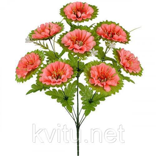 Искусственные цветы букет хризантема усатая на зеленой подставке, 60см