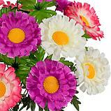 Букет штучні хризантеми триколірні, 49см, фото 2