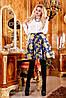 Яскрава, ніжна спідниця зі стильним орнаментом, жаккард, кльош, 42-46 розмір