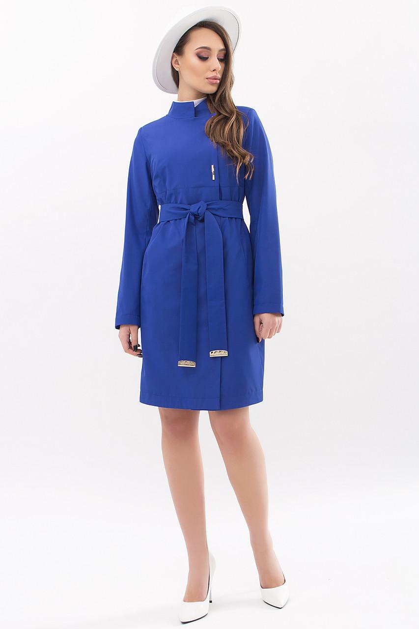 Модный женский плащ королевского синего цвета  размеры 42 44 46 48 50
