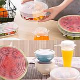 Набор силиконовых крышек для посуды 6 шт универсальные. Цвет: белый, фото 7