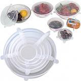 Набор силиконовых крышек для посуды 6 шт универсальные. Цвет: белый, фото 9
