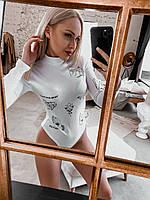 3 цвета! Модное женское боди с эффектом тату белое S 42 M 44 L 46