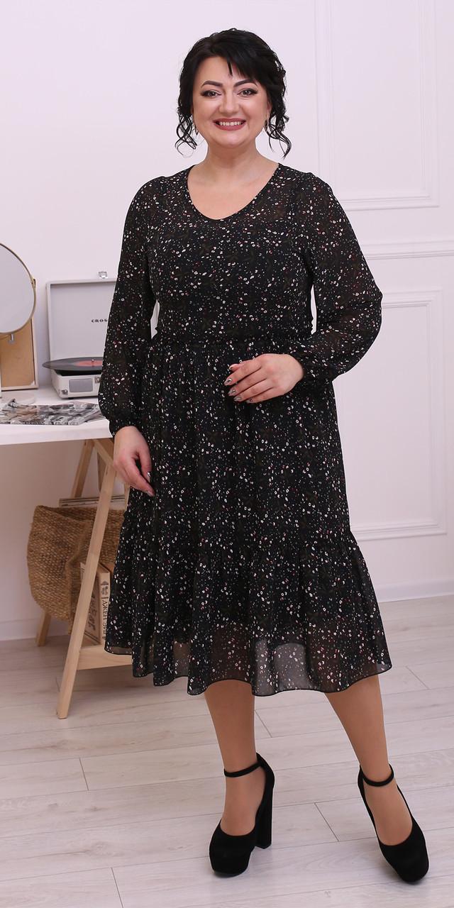 Черное весеннее шифоновое платье 52, 54, 56, 58