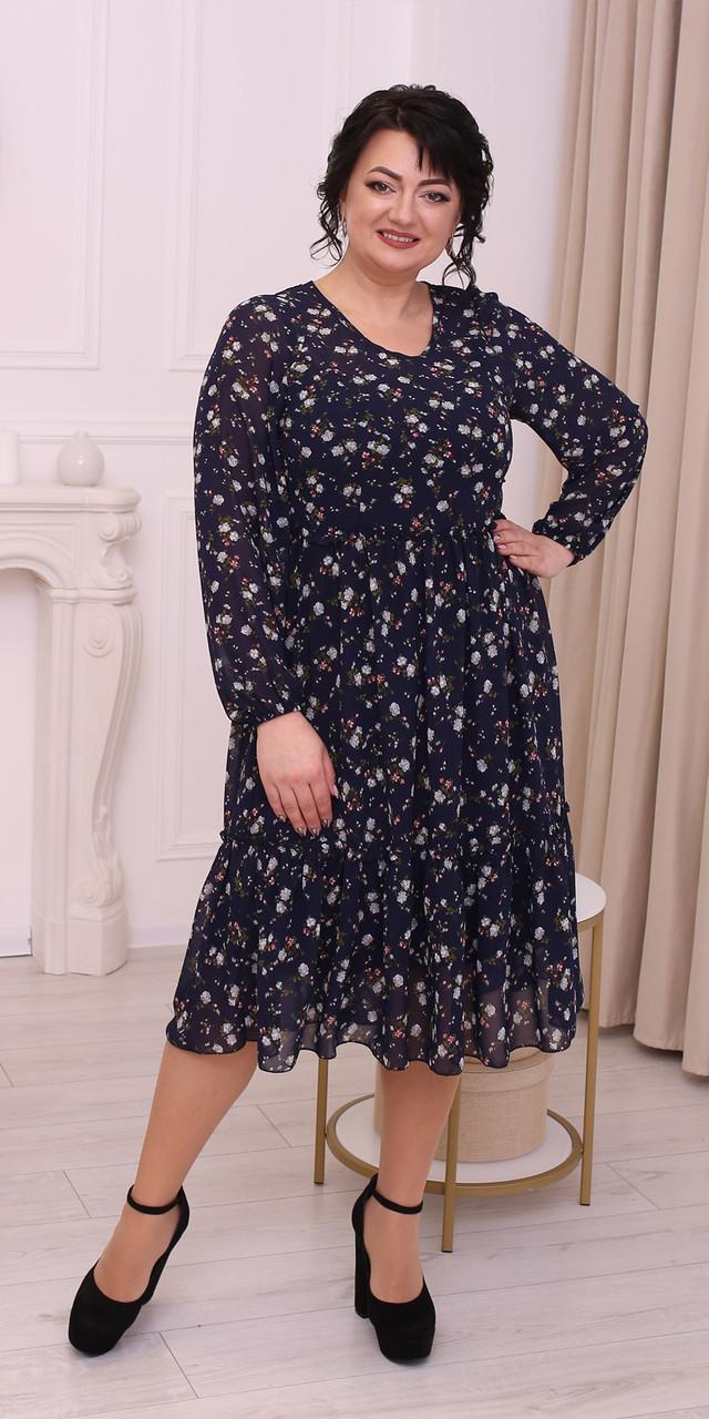 Святкова сукня із шифона  темно-синя з квітами 52, 54, 56, 58