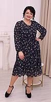 Святкова сукня із шифона  темно-синя з квітами 52, 54, 56, 58, фото 1