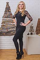 Платье женское с гипюром черное, фото 1