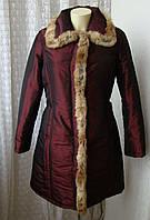 Пуховик женский на синтепоне куртка теплая мех кролик бренд Miss Mimi р.46 4448