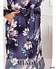 Р. 46-68 Жіноче плаття міді в квіточку великих розмірів фіолетове, фото 3