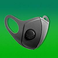 Многоразовая маска Pitta GREEND MASK с клапаном выдоха Черная, фото 1