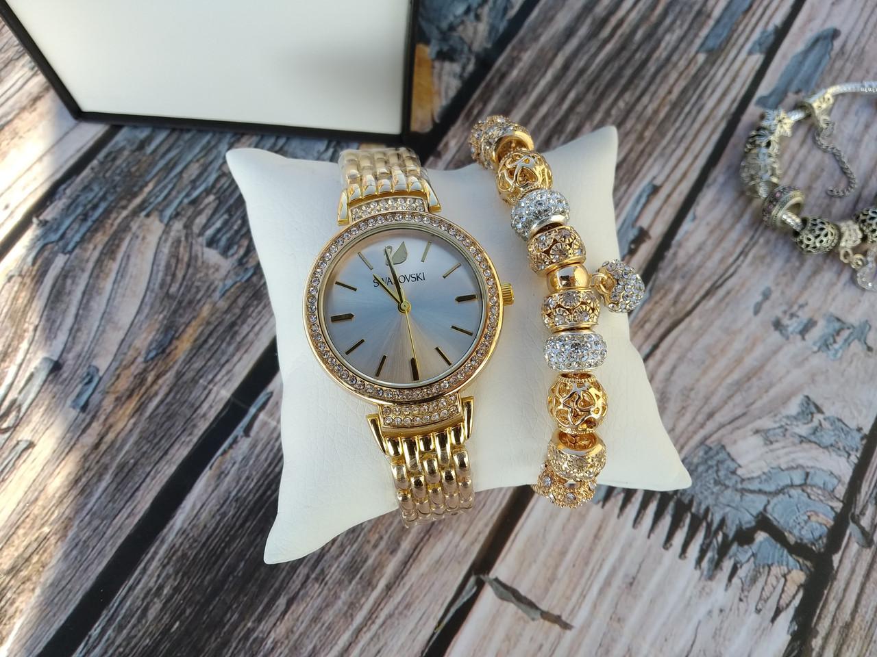 Жіночі наручні годинники + Браслет в стилі Пандори (В Подарунковій Коробці) Якість (ААА)
