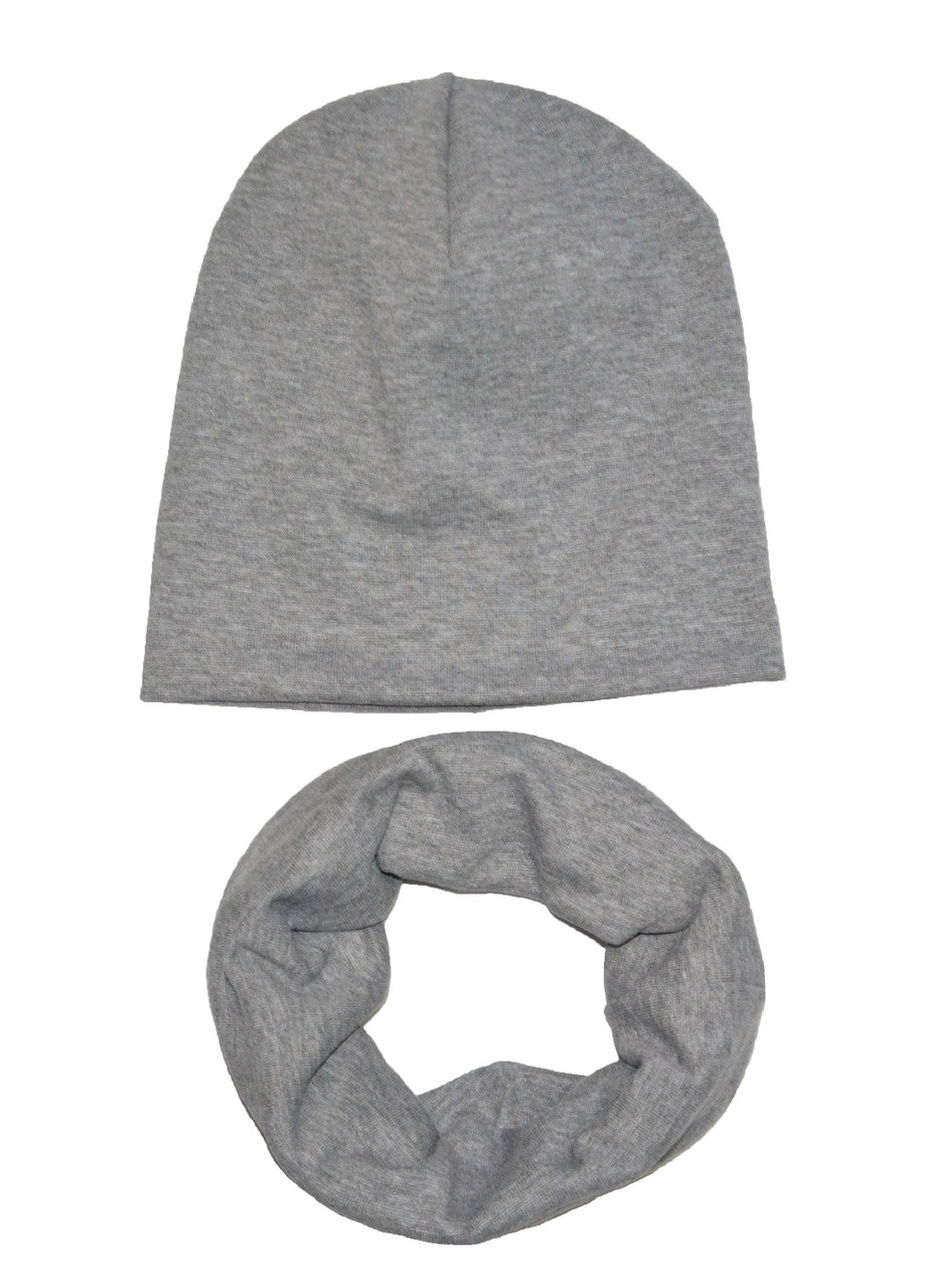 Комплект (шапка, шарф-снуд) весенний 2-10 лет серый