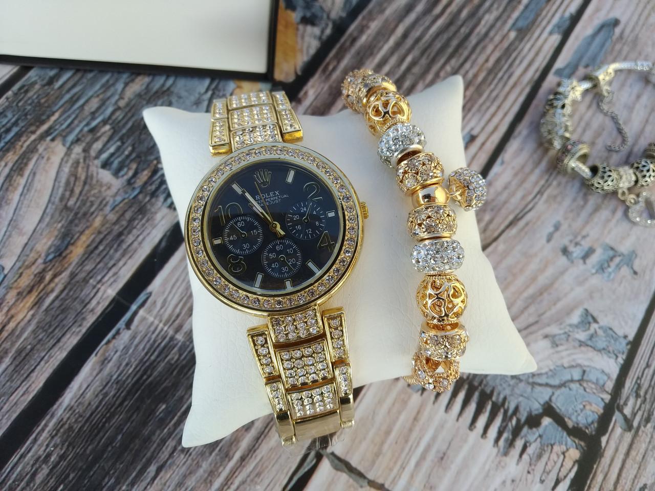 Женские наручные часы + Браслет в стиле Пандоры  (В Подарочной Коробке) Качество (ААА)