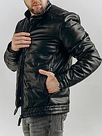Мужская утеплённая кожаная куртка, чёрная, фото 1