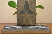 """Доски Садху Доска для йоги с нержавеющими гвозядми, с гравировкой """"Лотос"""" для начинающих с шагом 1 см"""