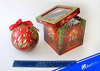 """Шар новогодний в подарочной коробке глянцевые """"Новогодние свечи"""" 100 мм. 1 шт."""