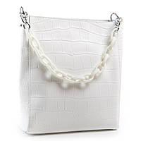 Белоснежная классическая женская сумка из натуральной кожи 24*26*13см ALEX RAI (03-01 9704 white)