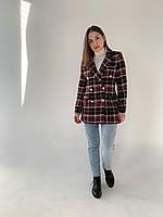Модный Женский пиджак в клетку c винтажной фурнитурой
