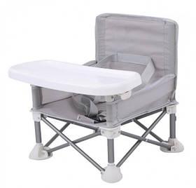 Складаний тканинний стільчик для годування Baby Seat Сірий