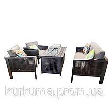 Комплект уличной мебели Dallas из стола-камина, дивана  и двух кресел для отдыха