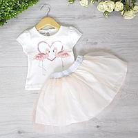 "Летний костюм ""Фламинго"" (футболка, юбка), для девочки 1-2-3 года (3 ед. в уп. )"