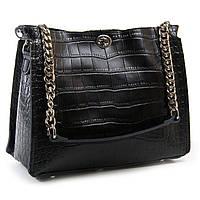 Вместительная женская сумка натуральная кожа, цвет черный 30*24*14см ALEX RAI (03-01 3202 black)
