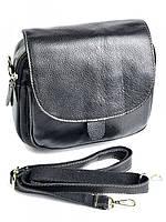 Жіночий чорний компактний клатч із натуральної шкіри RVL 0320 Black, фото 1