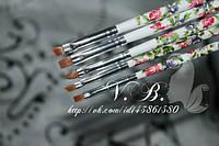Набор кистей для дизайна и китайской росписи(нейлон) 5 шт. цветная ручка,белая.