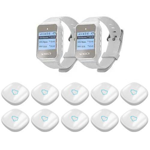 Система виклику медперсоналу RECS №63 | кнопки виклику медсестри 10 шт + пейджер персоналу